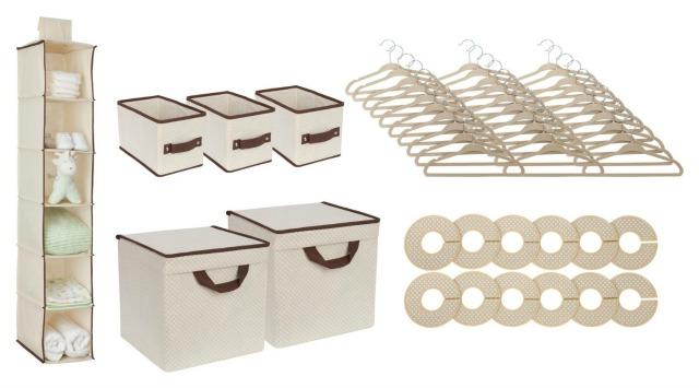 Delta 48 Piece Nursery Baby Storage Set in Beige - Kids Closet Organization Tips