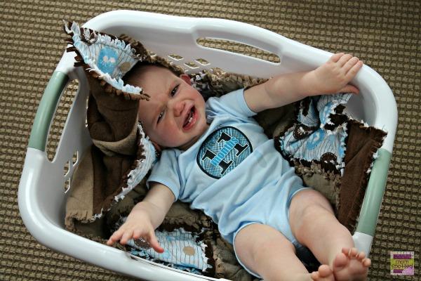 Sawyer James Instagram Laundry Basket Milestone 11 months crying