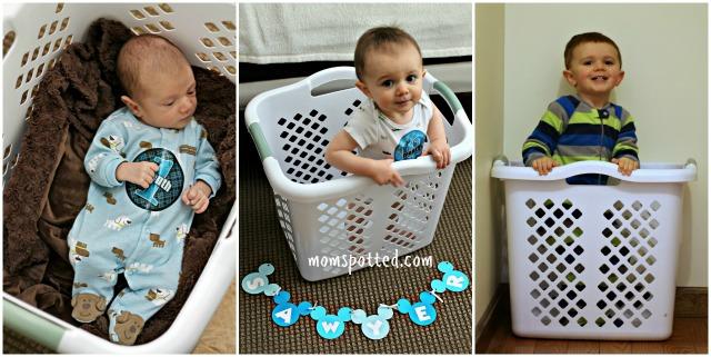 TWO Sawyer James Laundry Basket Milestone
