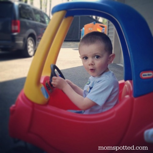Sawyer James 2 years old Little Tikes Cozy Coupe