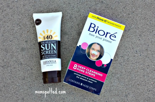 Bioré pore strips and Lavanila sunscreen