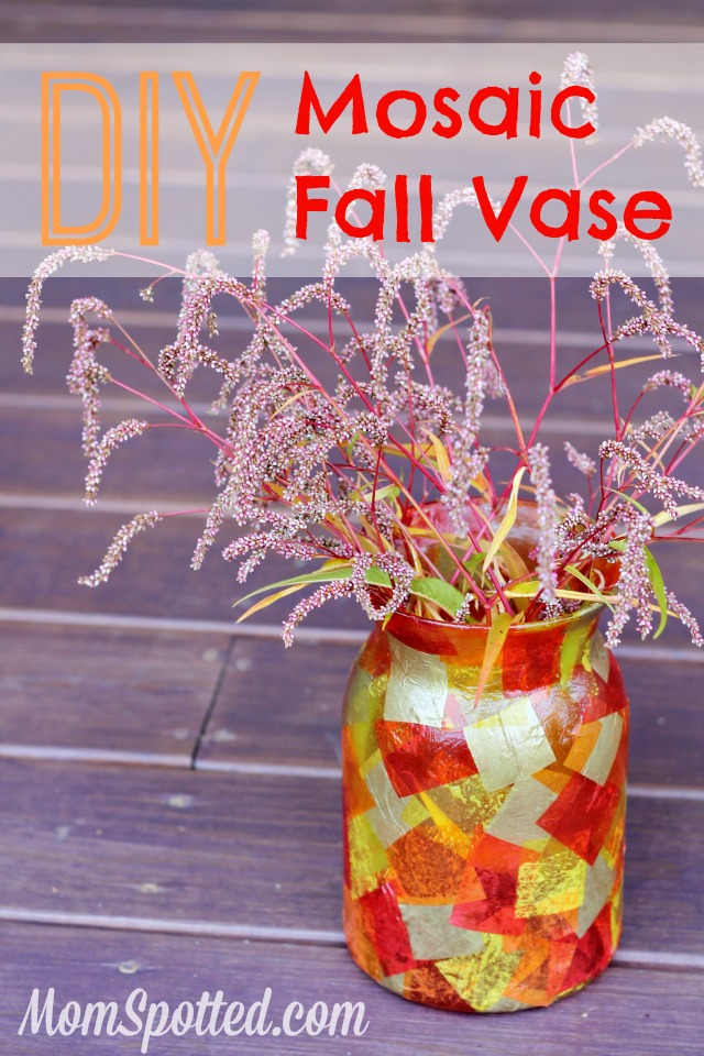 Diy Mosaic Fall Vase Easy Mod Podge Autumn Craft Tutorial
