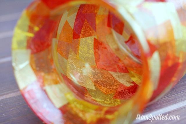 DIY Mosaic Fall Vase #FunCraftsWithMom #ModgePodge #HomeDecor #Craft #Diy momspotted.com