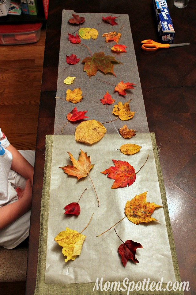 Stained Glass from Wax Paper Leaves {Easy Autumn Craft Tutorial} #FunCraftsWithMom #KidsCraft #Fall #Leaves momspotted.com