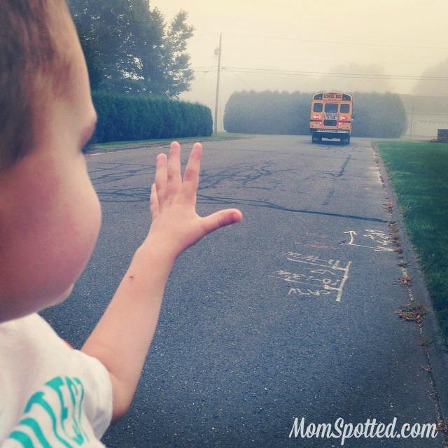 Sawyer James Waving Goodbye to School Bus