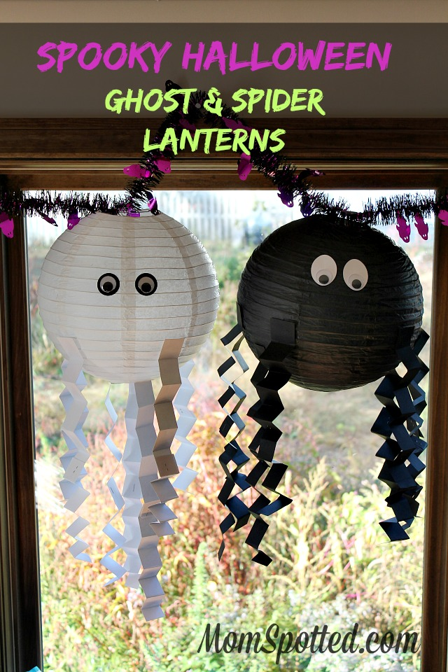 Spooky Halloween Ghost & Spider Lanterns #FunCraftsWithMom | Tutorial Found on momspotted.com