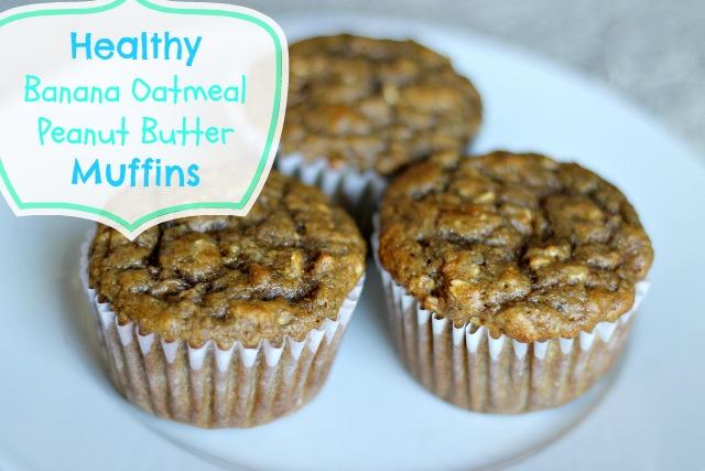 Healthy Banana Oatmeal Peanut Butter Muffins
