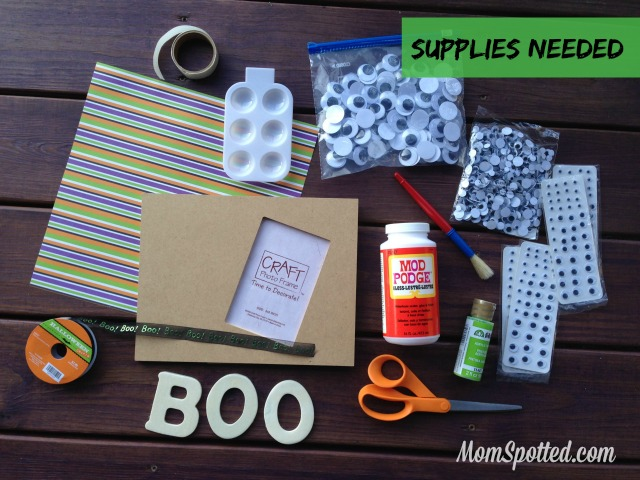 Boo! Halloween Wiggle Eye Picture Frame Tutorial #FunCraftsWithMom Supplies needed momspotted.com