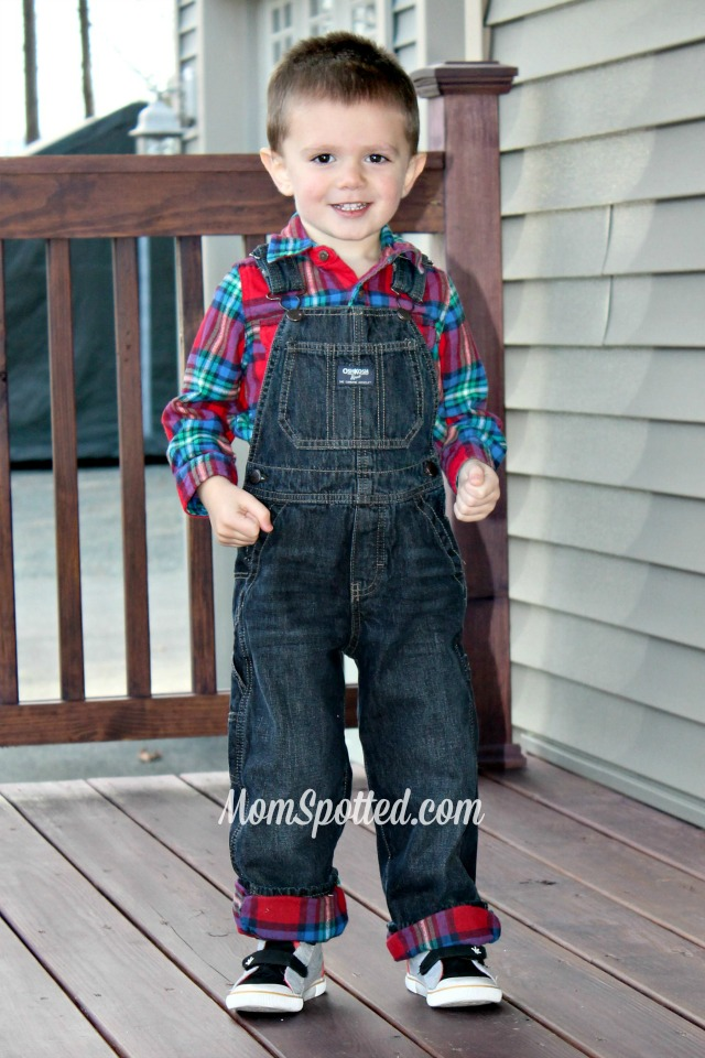 Sawyer James OshKosh Flannel Lined Overalls boys holiday clothing