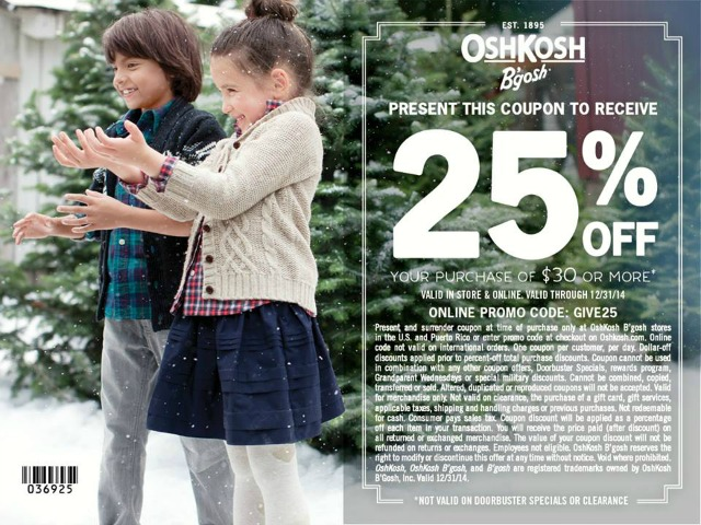 OshKosh November December 2014 Coupon