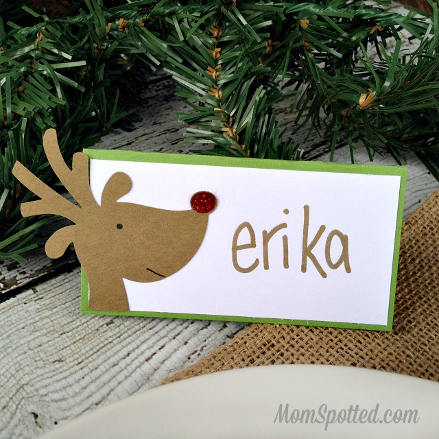 Rudolph Reindeer Glitter Red Nose Personalized Handmade Holiday Place Cards found on momspotted.com