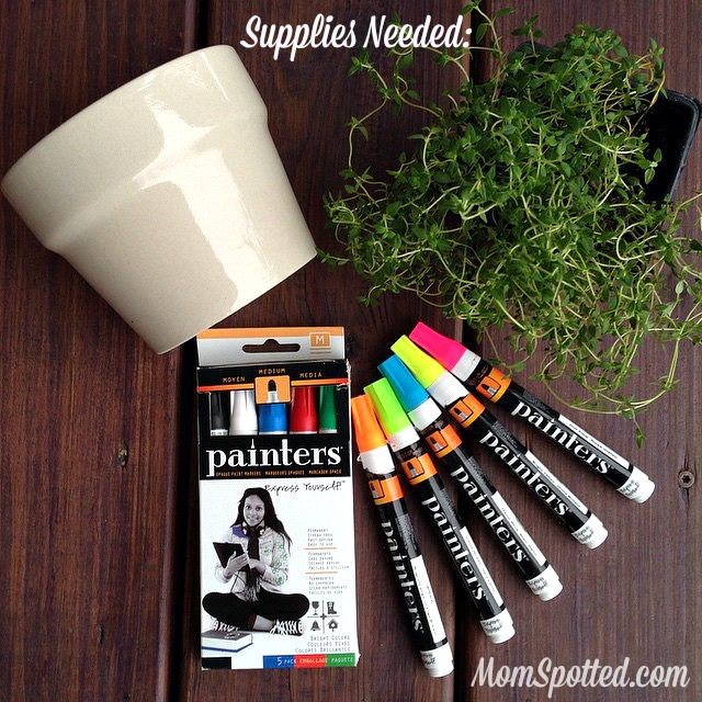Grandparents Gift Idea: Personalized Potted Plant Kids Craft #DIYwithPainters #PaintersMarkers