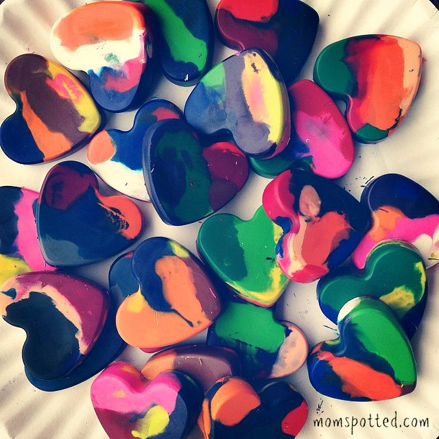 Make Your Own Heart Shaped Crayons