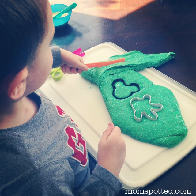 Make some fun, gooey Green Sparkle Leprechaun Slime in celebration of St. Patrick's Day with your toddler or preschool kids! Great summer science fun!