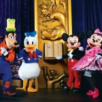 Disney Live Three Classic Fairy Tales features Mickey, Minnie, Donald, and Goofy as the narrators.