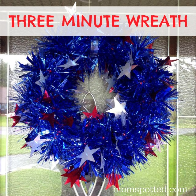 Easy Three Minute Holiday Wreath perfect for any holiday. Takes only three supplies too! Tutorial found on MomSpotted.com