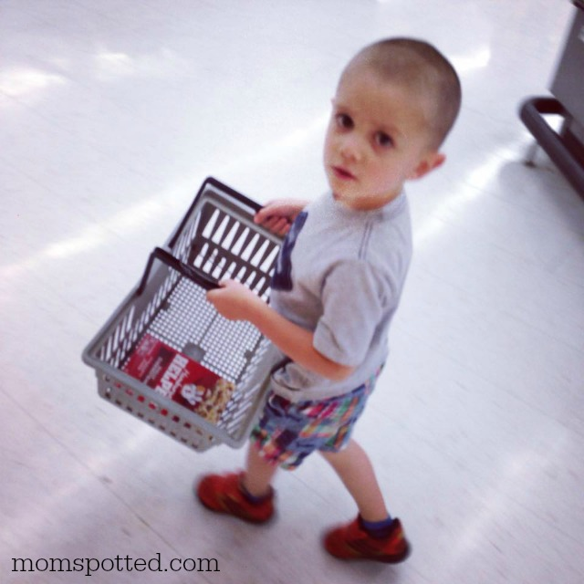 Sawyer helping grocery shop