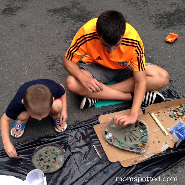 Johnny & Sawyer making handprint stepping stones