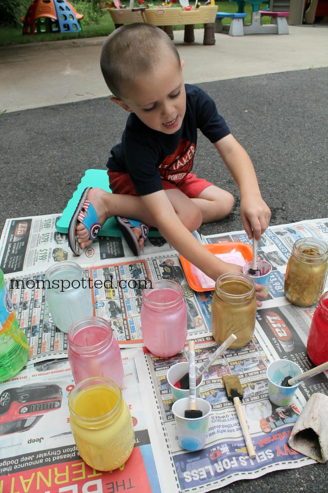 Sawyer painting mason jars