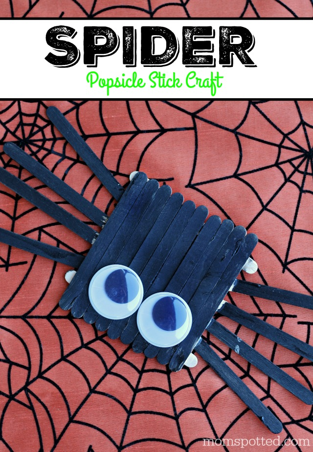Halloween Spider Popsicle Stick Art Craft for Kids #FunCraftsWithMom