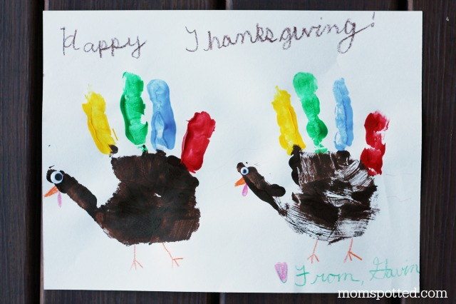 Turkey Handprint Thanksgiving Day Card Craft on Mom Spotted