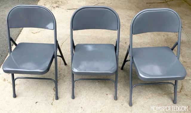 spray painted metal chairs Rustoleum 2x