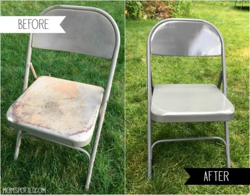 Wondrous Diy Spray Painting Metal Folding Chairs Mom Spotted Ibusinesslaw Wood Chair Design Ideas Ibusinesslaworg