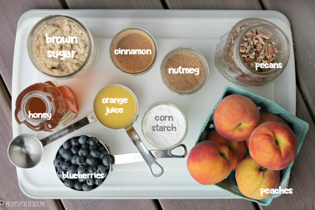 Peach and Blueberry Oat Crisp Ingredients labeled