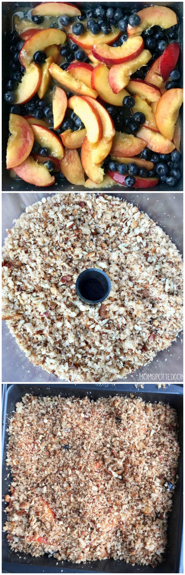 Peach and Blueberry Oat Crisp Recipe Collage up