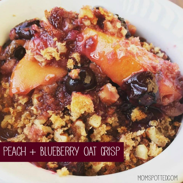 Warm Peach and Blueberry Oat Crisp