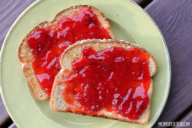 bread with homemade strawberry jam