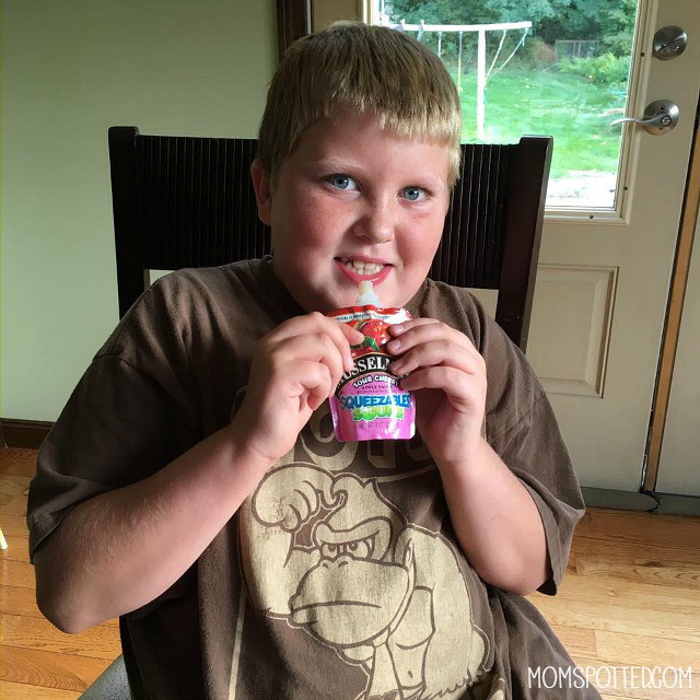 Musselman's Squeezable Sours are the perfect healthy snack for Gavin!