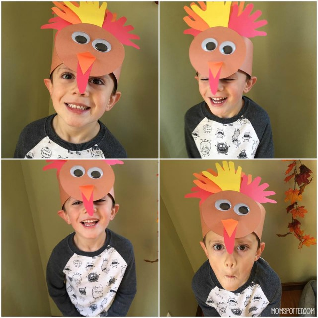 Turkey Handprint Headband Hat Craft for Thanksgiving