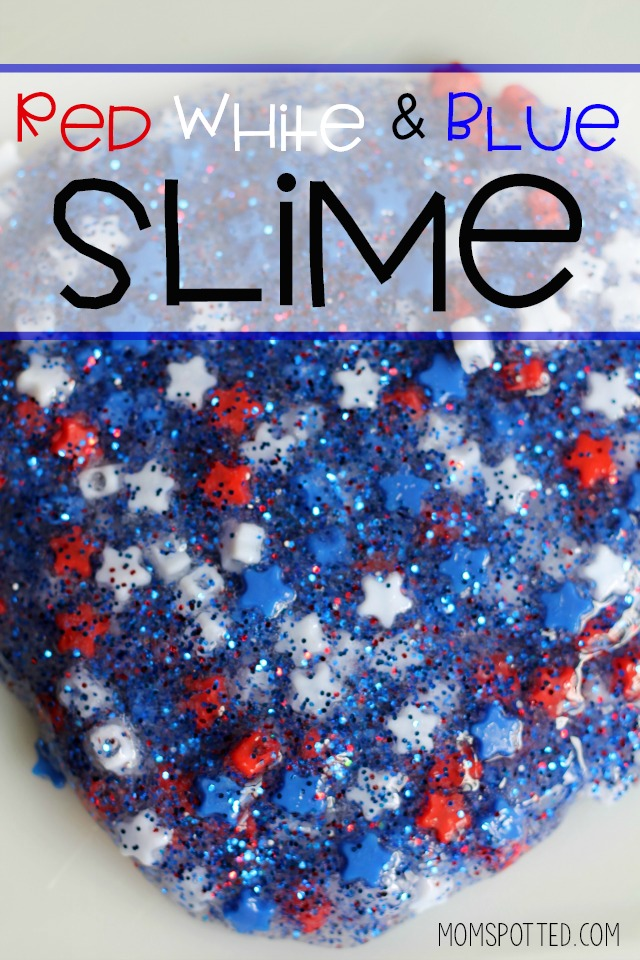 Red White & Blue Glitter Slime
