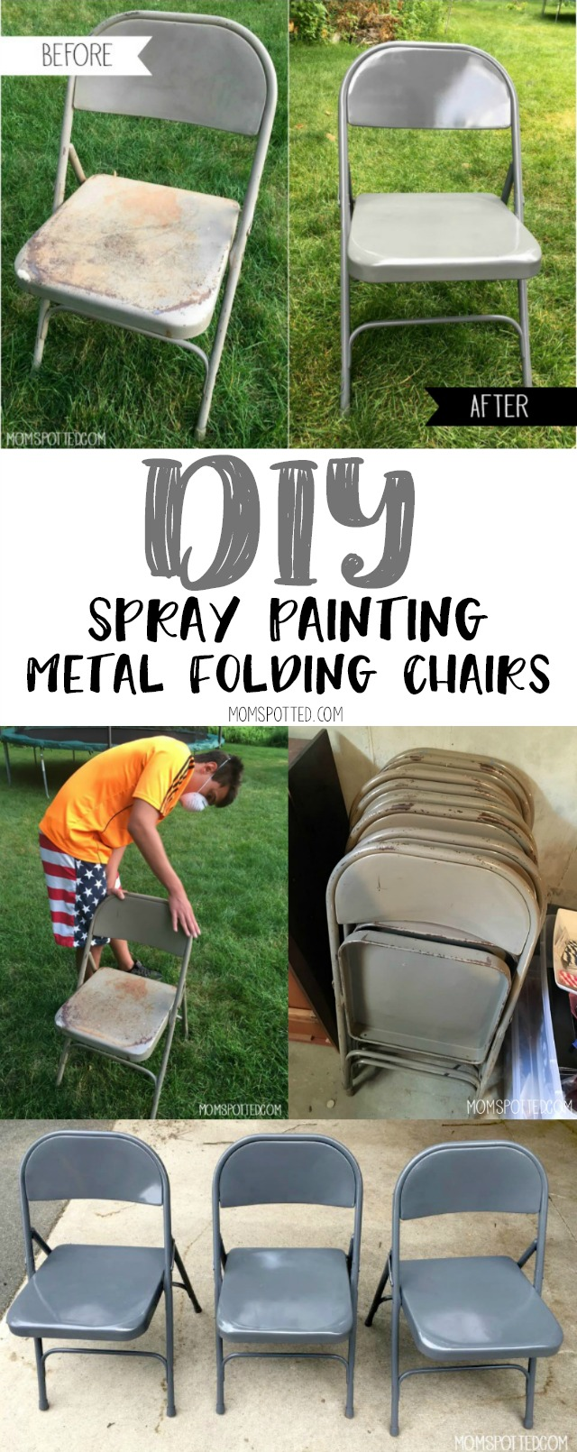 Diy Spray Painting Metal Folding Chairs Mom Spotted